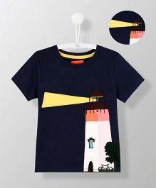 Cherry Crumble California Lighthouse Applique Tee - Navy Blue