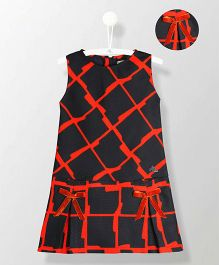 Cherry Crumble California Printed Dress With Bow - Black & Red