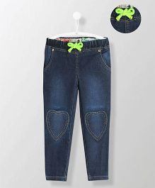 Cherry Crumble California Heart Applique Jeans - Blue