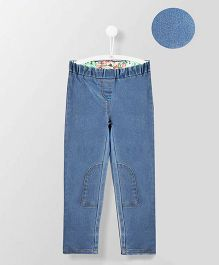 Cherry Crumble California Knee Patched Stretchy Jeggings - Blue