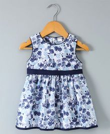Doreme Sleeveless Frock Allover Floral Print - Blue