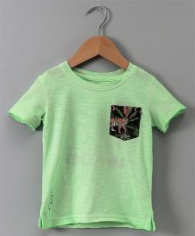 Gini & Jony Half Sleeves Tee Tiger Print - Green