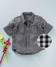 Gini & Jony Full Sleeves Shirt Checks Print - Black White