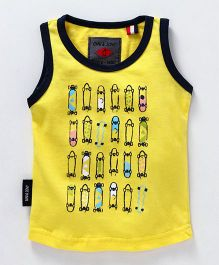 Gini & Jony Sleeveless Tee Skate Board Print - Yellow