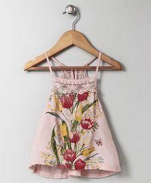 Gini & Jony Singlet Racer Back Top Floral Print - Pink