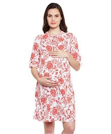 Oxolloxo Floral Tie Detail Maternity Dress - Red