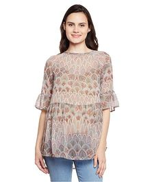Oxolloxo Printed Maternity Top - Beige