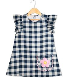 Sorbet Checks Printed Dress With Frill Sleeves - Blue