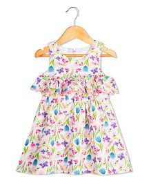 Sorbet Floral Print Dress With Frill Design - Pink