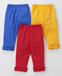 Zero Full Length Lounge Pants With Ruffled Hem Pack of 3 - Yellow Coral Blue