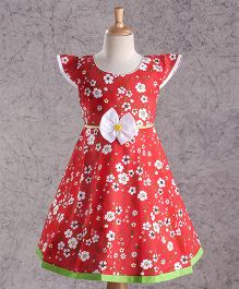 Enfance Core Printed Cotton Casual Dress - Red