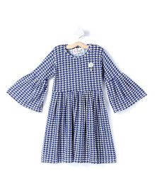 M'andy Printed Full Sleeves Frock - Blue