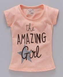 Olio Kids Short Sleeves Tee Amazing Girl Print - Peach