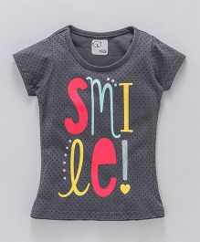 Olio Kids Short Sleeves Tee Smiles Print - Grey