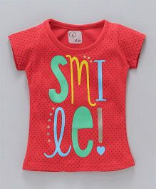 Olio Kids Short Sleeves Tee Smiles Print - Red