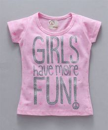 Olio Kids Short Sleeves Tee More Fun Print - Light Pink