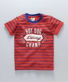 Olio Kids Half Sleeves T-Shirt Champ Print - Red