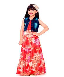 Tiny Baby Floral Print Long Dress With Denim Jacket - Red