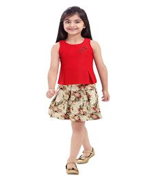 Tiny Baby Floral Print Skirt & Top Set - Red