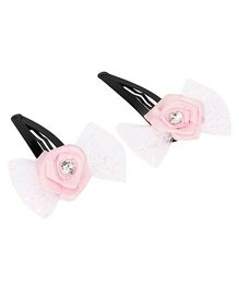 Daizy Bow Snap Clips - Pink
