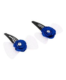 Daizy Bow Snap Clips - Blue