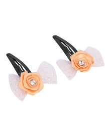Daizy Bow Snap Clips - Orange