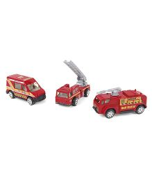 Playmate Die Cast Ambulance Firefighter & Tanker Toy Vehicles Pack of 3 - Red Grey