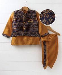 Babyhug Full Sleeves Kurta With Printed Jacket & Dhoti - Navy Golden