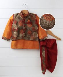 Babyhug Full Sleeves Kurta With Printed Jacket & Dhoti - Red Orange