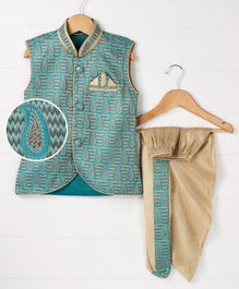Babyhug Sleeveless Jacket With Dhoti Paisley Design - Blue Golden