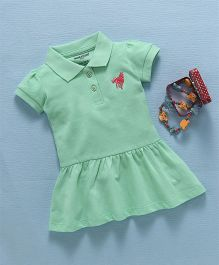 Cucumber Short Sleeves Collar Neck Tennis Frock - Green