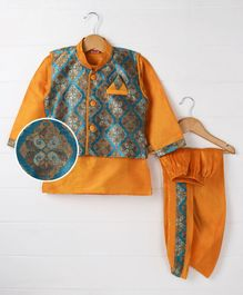 Babyhug Full Sleeves Kurta With Printed Jacket & Dhoti - Orange Blue