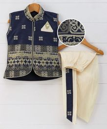 Babyhug Sleeveless Jacket With Dhoti Self Design - Navy Cream
