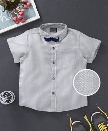 Rikidoos Solid Shirt With Mustache Style Bow Tie - Grey