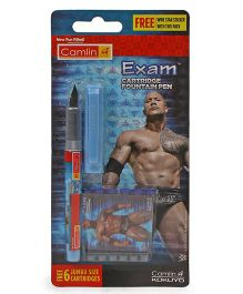 Camlin WWE Exam Cartridge Fountain Pen - Blue Ink