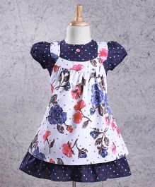 Enfance Floral Print Cotton Casual Dress With Cap Sleeve - Blue