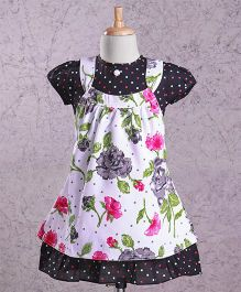 Enfance Floral Printed Cap Sleeves Dress - Black
