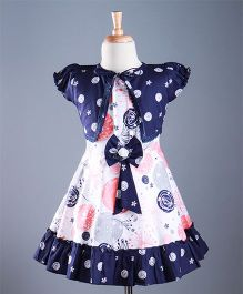 Enfance Abstract Print Dress With Shrug - Navy