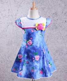 Enfance Floral Printed Cap Sleeves Dress - Light Blue