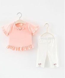 Pre Order - Superfie Frill Top & Bottom Set - Pink & White