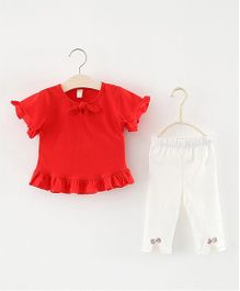 Pre Order - Superfie Frill Top & Bottom Set - Red & White