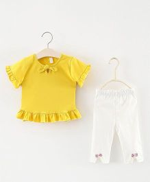 Pre Order - Superfie Frill Top & Bottom Set - Yellow & White