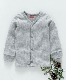 Babyhug Full Sleeves Front Open Thermal Vest - Light Grey