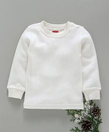 Babyhug Full Sleeves Pullover Thermal Vest - Off White