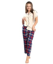 Piu Front Open Checkered Print Sleepwear - Cream & Blue