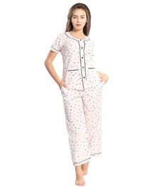 Piu Front Open Insect Print Sleepwear - Light Pink