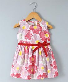 Dew Drops Sleeveless Floral Frock Bow Applique - Red