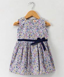 Dew Drops Sleeveless Floral Frock - Navy