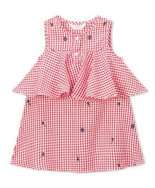 Budding Bees Checked Emboridered Dress - Red