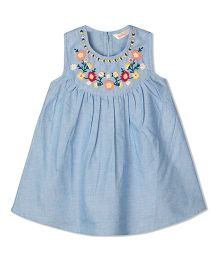 Budding Bees Solid Embroidered Chambray Frock - Blue